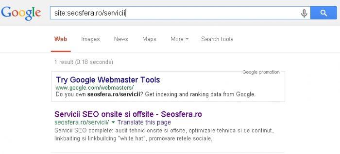 verificare indexare in Google