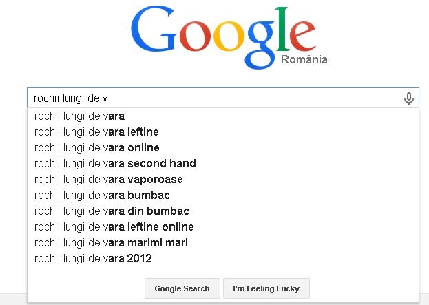 Sugestii cuvinte cheie afisate de Google