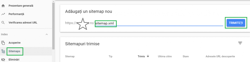 Trimitere sitemap XML catre Google din Google Search Console