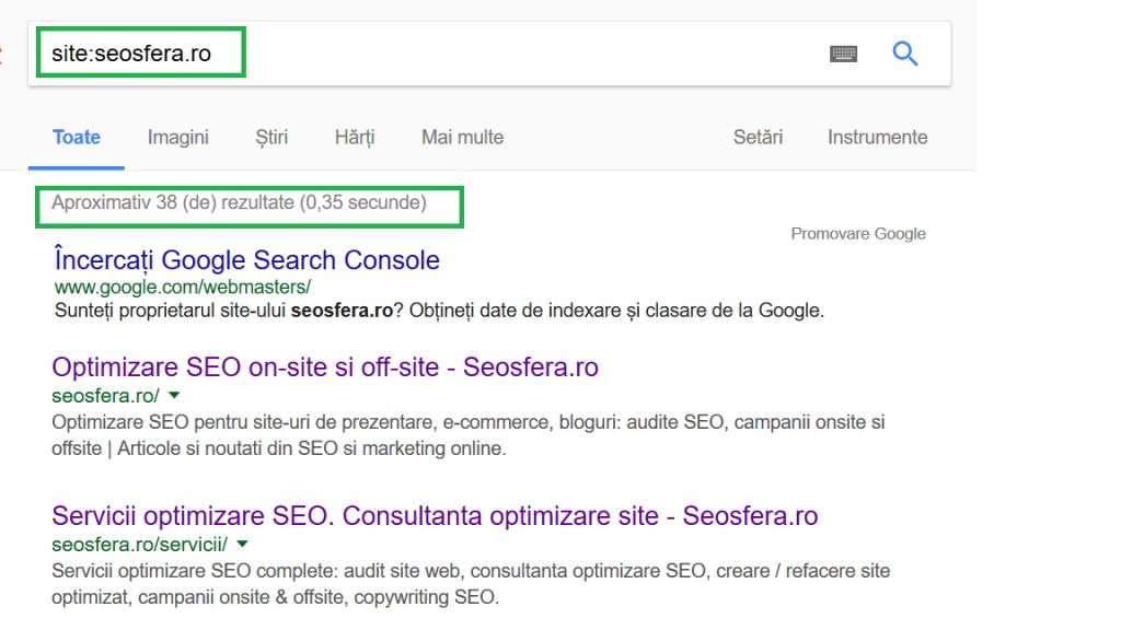 Rezultat Google pentru verificare indexare site