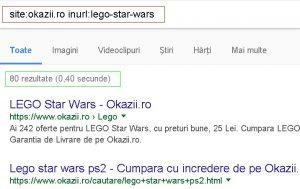 Verificare indexare URL-uri cu site: si inurl: